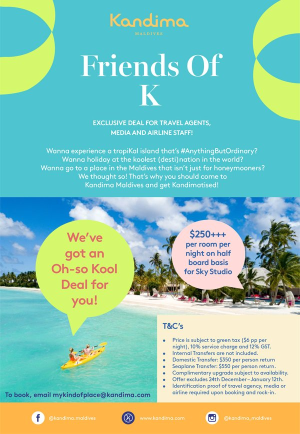 MALDIVES Kandima Resort 45% discount – Airline Staff Rates