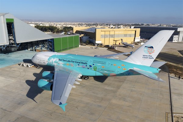 "Hi Fly has painted ""Save the Coral Reefs"" on its Airbus A380"