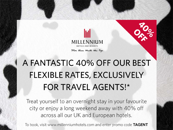 MillenNium Hotels – 40% discount – Airline Staff Rates
