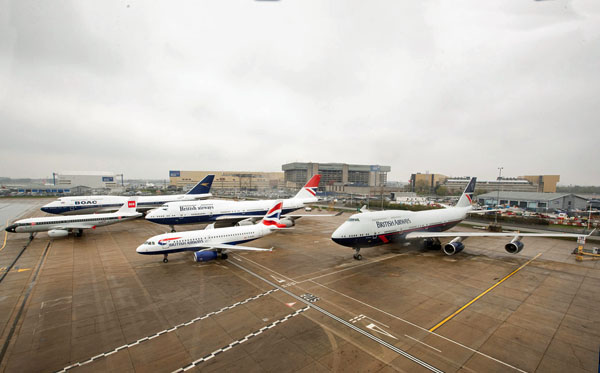 All four British Airways heritage liveries come together to